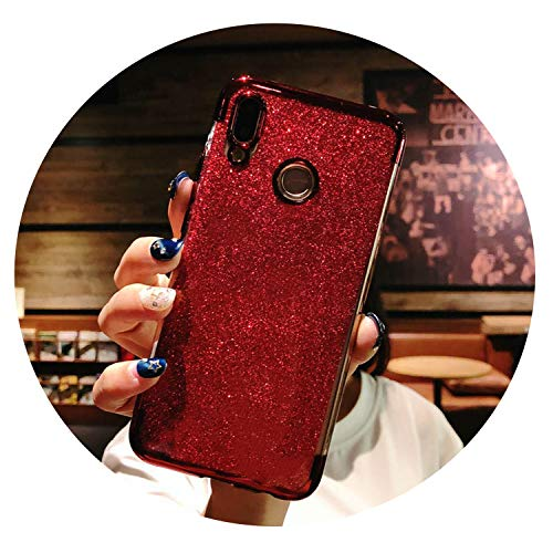 Glitter Frame TPU Phone Cases for Huawei P20 Lite Cover P10 P9 P8 Mate 10 Nova 2 3 Honor 9 7X 8X Y6 Prime Y9 2018 Silicone Case,Glitter Red,for Huawei P10
