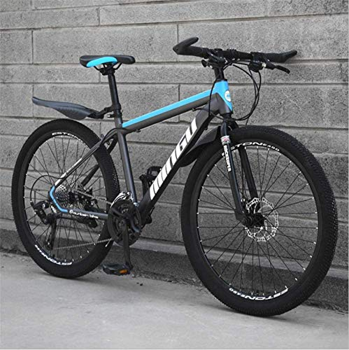 HCMNME Durable Bicycle, 24 inch Mountain Bike Variable Speed Off-Road Shock-Absorbing Bicycle Light Road Racing Spoke Wheel Alloy Frame with Disc Brakes (Color : Black Blue, Size : 24 Speed)