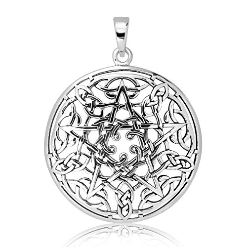 WithLoveSilver Sterling Silver 925 Celtic Pentacle Trinity Knot Triquetra Pendant