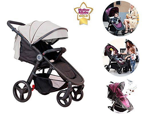 Star Ibaby Air - Silla de paseo, Negro/ Beige (Sand)