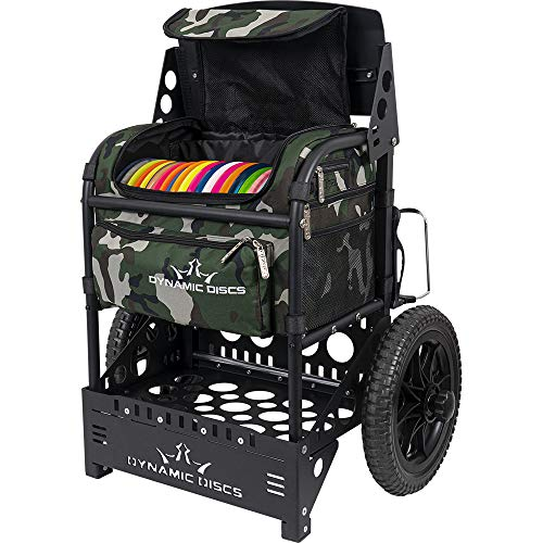 Dynamic Discs Transit Cart by ZUCA | Disc Golf Caddy | Carry up to 25 Discs Comfortably | Removable Bag Included (Woodland Camo)