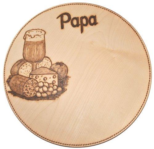 Schneidebrett Schinkenteller Holzteller Pizzateller Ahorn massiv rund, ca. 26 cm mit handgebranntem Motiv und Gravur