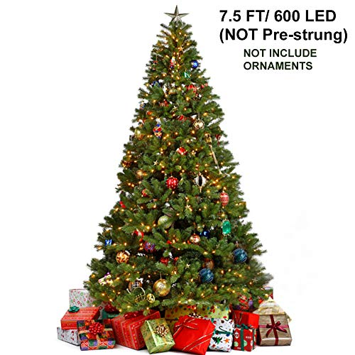 Juegoal 7.5 Foot Artificial Christmas Tree with 600 LED Warm White String Lights (NOT Pre-Strung) 8 Lighting Modes Fake Xmas Tree with Durable Metal Legs, 1350 Tips