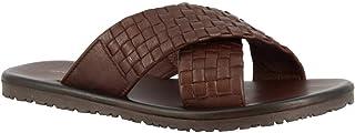 Leonardo Shoes Sandali Ciabatta con Fasce Incrociate da Uomo in Pelle di Vitello Intrecciata Marrone - Codice Modello: M57...