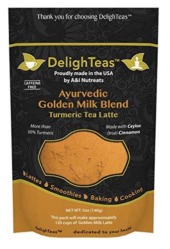 Ayurvedic Organic Golden Milk blend with Turmeric, Ceylon Cinnamon, Ginger and Black Pepper; Anti-Inflammatory (5 oz, 120 cups)