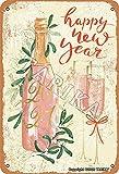 BIGYAK Feliz año nuevo 2021 lata 20 x 30 cm aspecto vintage decoración pintura cartel para el hogar, cocina, baño, granja, jardín, garaje, citas inspiradoras decoración de pared