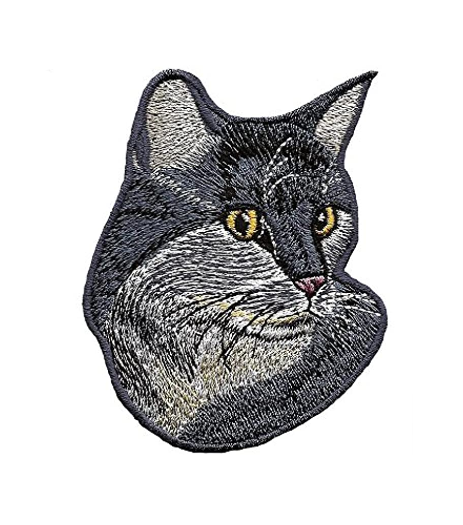 A-113,Cat DIY Embroidered Sew Iron on Patch 3.03 by 3.78 inches(7.7 x 9.6 cm)