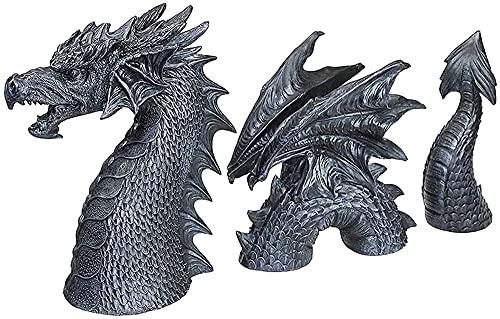 FAFAFA Dragón Grande Dragon Gothic Garden Decor Statue - El Dragón de Falkenberg Castle Moat Lawn Statue, Resina Dragon Estatuas al Aire Libre y esculturas para el jardín Funny Outdoor Figurine