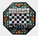 Black Marble Chess Board 12'x12' and Marble Chess Pieces, The Queen's Gambit, Marble Chess Set, Chess Sets For Sale, Ready To Dispatch