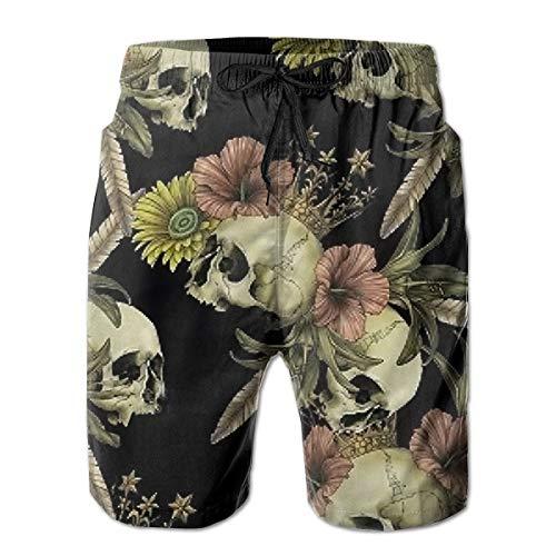 Générique Mens Casual crâne Fleur Moyen Longueur été Cordon de Plage Shorts de Plage Pantalon de Surf Pantalon l