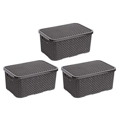 BranQ - Home essential Deckel Korb in Rattan Design 3er Set Grösse L 19l, Kunststoff PP, Anthrazit, 19 l, 3
