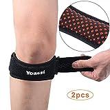 Yoassi Protection Genou Anti-déparant Genouillère Bandage Rotulienne Réglable en Matériau Respirable Nouvelle Version avec Insert en Silicone (1 paire)