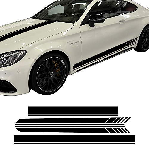 Edition 1 Side Skirt Hood Roof Racing Stripe Yellow/Black/5D Carbon Vinyl Decals for Mercedes Benz C63 Coupe W205 AMG C200 C250 (Gloss Black Set)