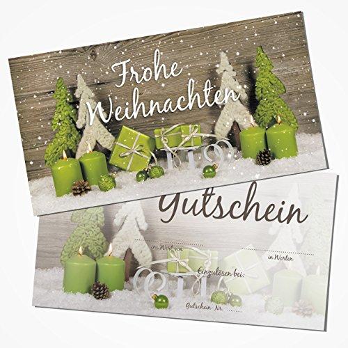 Logbuch-Verlag 100 Weihnachtsgutscheine - Gutschein Einkaufsgutschein FROHE WEIHNACHTEN zum Beschriften DIN lang grün grau doppelseitig für Kunden