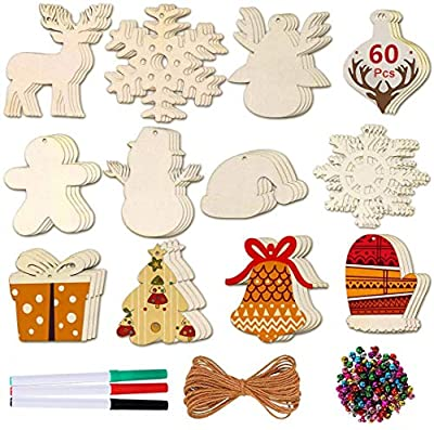 Max Fun DIY Wooden Christmas Ornaments Unfinished Predrilled Wood Circles for Crafts Centerpieces Holiday Hanging Decorations