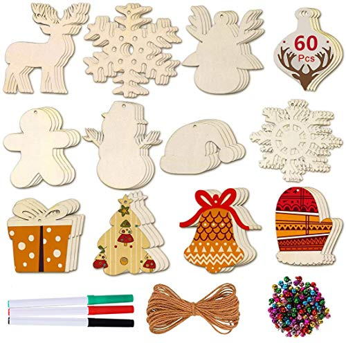 Max Fun 60 Pieces Unfinished Wooden Ornaments Christmas Wood Ornaments, Hanging Embellishments Crafts for Christmas, Wedding, Holiday Hanging Decoration in 12 Shapes