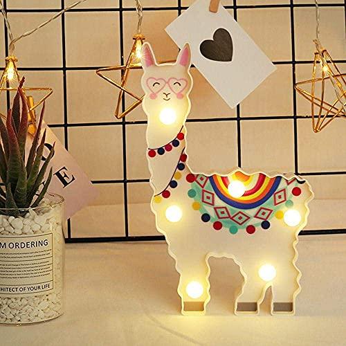 SanZHONGsd Linda luz de noche, Alpaca Llama LED lámpara luces de modelado decorativo para la decoración de la mesita de noche del hogar regalo de dibujos animados para el festival