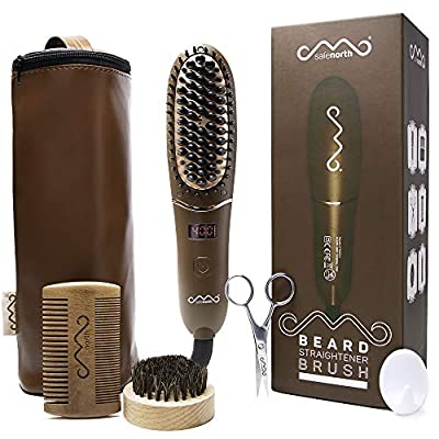 Safenorth Ionic Beard Straightener Brush for Men, Vintage Beard Straightening Comb with Ceramic coated bristles Auto Safety Shut-Off and LED Screen. Compact and lightweight for travel