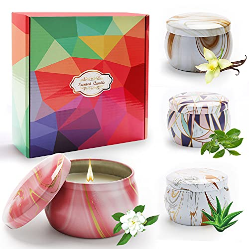 DASIAUTOEM Scented Candles, Scented Candles Gift Set with 4 Pieces, Gift Set for Women, 100% Natural Soy Wax for Anniversary Birthday Mother's Day Bath Yoga Valentine's Day