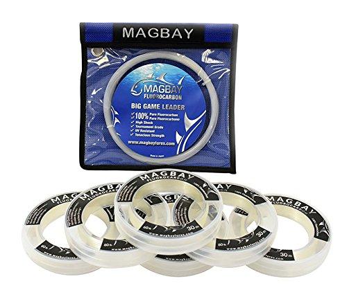 MagBay Kunstköder, 100 % reines Fluorocarbon Vorfach, 68 kg, 36 kg oder 27 kg, 33 m Angelschnur, 40lbs