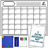 Set de Calendario Magnético Mensual - Grande Planificador Pizarra Blanca 43x33cm + 2 Listas de Compras + 1 Borrador, 1 Paño, 4 Rotuladores, 4 Imanes - Agenda Organizador para Nevera