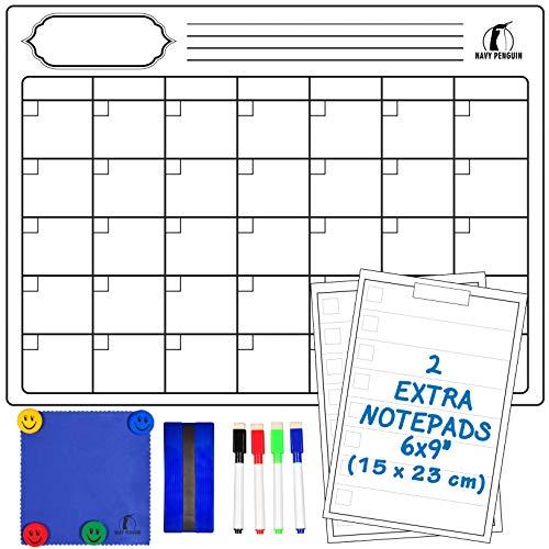 Kit Lavagna Calendario Magnetico Mensile - Lavagnetta Magnetica Calendario 43x33cm + 2 Lista della Spesa + 1 Cancellino, 1 Panno, 4 Pennarelli, 4 Magneti - Planner Cancellabile per Frigo