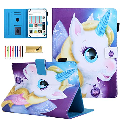 Dteck Slim Fold Stand Wallet Universal Case for Samsung Galaxy/Onn/Lenovo/Dragon Touch/Vankyo MatrixPad/LG G Pad/Huawei/Android Tablet 9.6 9.7 10 10.1 10.2 10.3 10.4 10.5 Inch, Fairy Unicorn
