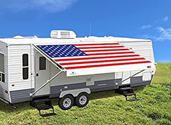 Leaveshade RV Awning Fabric Replacement 12 3   Fit for 13  Awning    Tentproinc Camper Trailer Awning Fabric ●Super Heavy Vinyl Coated Polyester -USA Flag  Custom Looking -Innovated 5 Years Weathering