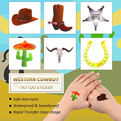 144 Pieces Western Cowboy Temporary Tattoos Western Elemental Stickers with Flannelette Bag Cowboy Party Accessories for Adult Children 5