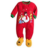 Disney Store Winnie The Pooh Blanket Sleeper Christmas Holiday Fleece Red 2017 (0-3)