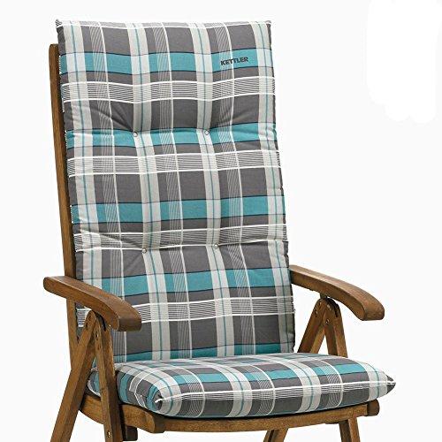 Kettler Sesselauflage für Hochlehner - komfortable Stuhlauflage mit Kreisheftung und Karomuster - 120 cm hohe Polsterauflage aus Baumwolle - türkis & grau - 6 Stück