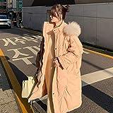 N/Z Home Equipment Daunenjacke Langer großer Pelzkragen für Damen, lockerer Daunenmantel, weiße...