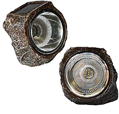 SunKite Solar Powered Rock Light, 2 Pack 10 LED Waterproof Garden Stone Lights Outdoor Landscaping Spotlights, Yard Patio Pathway Driveway Landscape Rock
