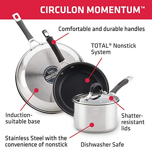 Circulon Momentum Stainless Steel Sauce Pan/Saucepan with Straining and Lid, 3 Quart, Silver