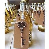DISOK Lote 20 Llaveros Abrebotellas Abridor Corazón Bronce con Tarjeta Kraft - Ideal para Detalles de Bodas! …