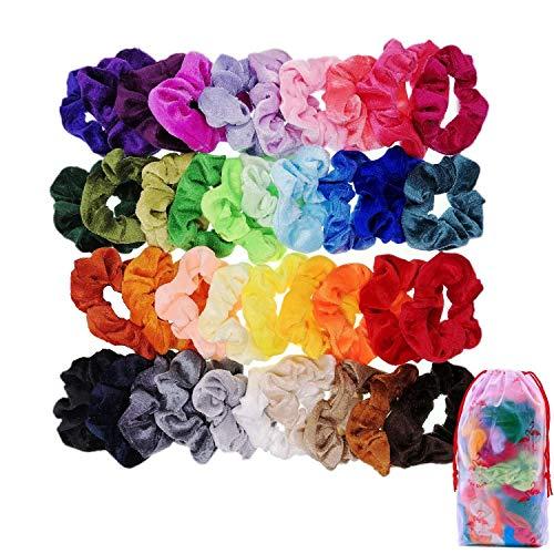 JZK Kleurrijke Scrunchies fluweel elastische haarbanden haarbanden elastiekjes met zak haaraccessoires voor meisjes kinderen verjaardagscadeau cadeautje feest Favors