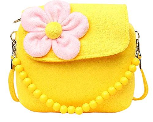 Worsendy kinder handtasche, Kinder Geldbeutel Mädchen Prinzessin Handtaschen Kuriertasche Mode Plüsch Bestickt Mädchen Backpack Verstellbar Schultergurt Taschen Kinder Geschenk Gelb