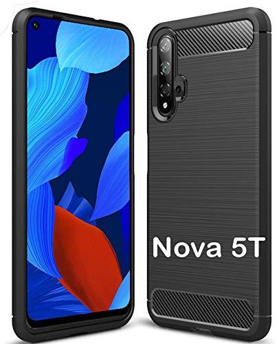tomaxx Hülle für Huawei Nova 5T Silikon Hülle Schutzhülle Silikon Tasche Carbon Schwarz passt für Huawei Nova 5T / Honor 20