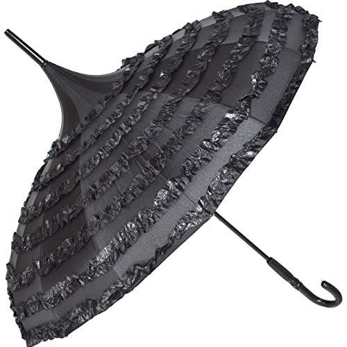 Traumhafter GOTHIC Regenschirm mit Rüschen und Pagodendach