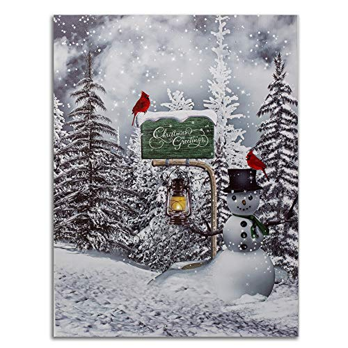 Cardinal Christmas LED Print - Red Cardinals and Cute Snowman In a Forest with a Mailbox Lighted Light Up LED Canvas Print - Winter Scene Wall Art Picture