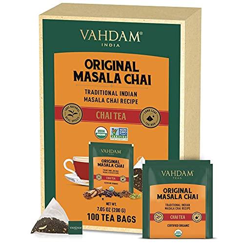 VAHDAM, Orgánica Té Chai Masala Original de la India (100 Bolsitas de Té)   ESPECIAS 100% NATURALES, SIN SABORIZANTES AÑADIDOS – Té Negro, Cardamomo, Canela, Pimienta Negra y Clavo