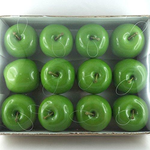 Grüne Kunstobst Äpfel Glanz mit Nylonschnur. 7cm. 12 Stück