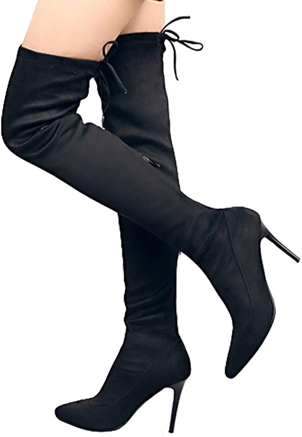 Seacat Women's Suede Over The Knee Lace-up Zipper Thigh High Stiletto Heel Boots