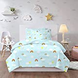 HUA JIE Fundas Nordicas Cama Cute Rainbow Cloud Sun Queen Bedding Set 3 Pcs Kids Light Blue Cartoon Duvet Covet Sets 1 Duvet Cover + 2 Pillowcases