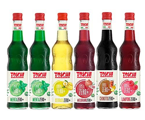 Drink della tradizione Italiana Zero + Toschi 560 ml nei gusti 2x Menta, Lampone, Melograno, Chinotto e Cedrata.