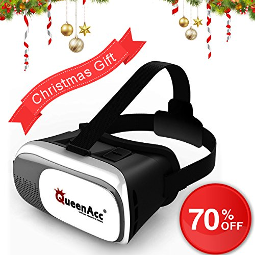 QueenAcc 3D VR Virtual Reality Headset 3D Glasses VR Headset VR Glasses, Compatible with 3.5-6.0 inch Screens for Smartphone,Samsung,iPhone, etc.