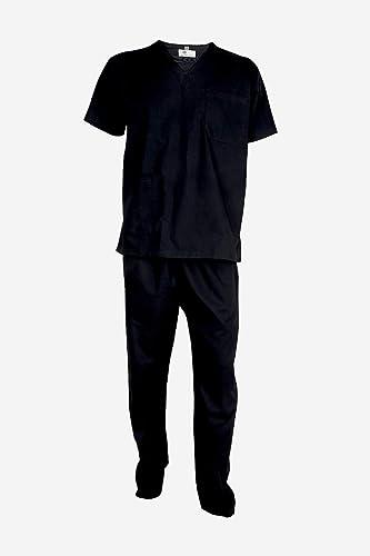 UNIFORM CRAFT Mens Scrub Suit - Ideal for Doctors, Nurses, Dentists and Healthcare Professionals (L, BLACK)