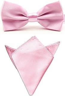 Men Satin Solid Color Pre-tied Tuxedo Bowtie Bow Tie Handkerchief Pocket Square Set (Pink)