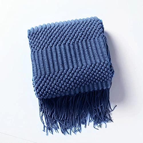 Floryard, coperta lavorata a maglia, morbida, morbida, morbida, leggera, resistente, con frange decorative strutturate, per divano, letto, sedia, pannolino, 127 x 152 cm, colore blu navy