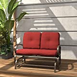 Finefind Patio Glider Bench Outdoor Cushioned 2 Person Swing Loveseat Rocking Seating Patio Swing Rocker Lounge Glider Chair, Brick Red
